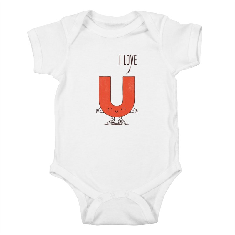 I LOVE U Kids Baby Bodysuit by netralica
