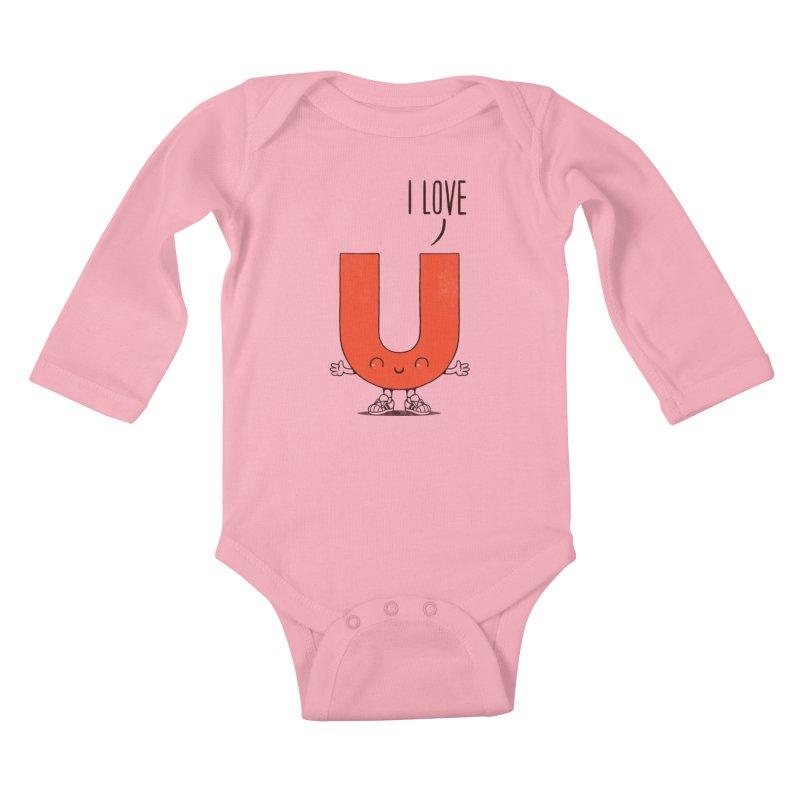 I LOVE U Kids Baby Longsleeve Bodysuit by netralica's Artist Shop