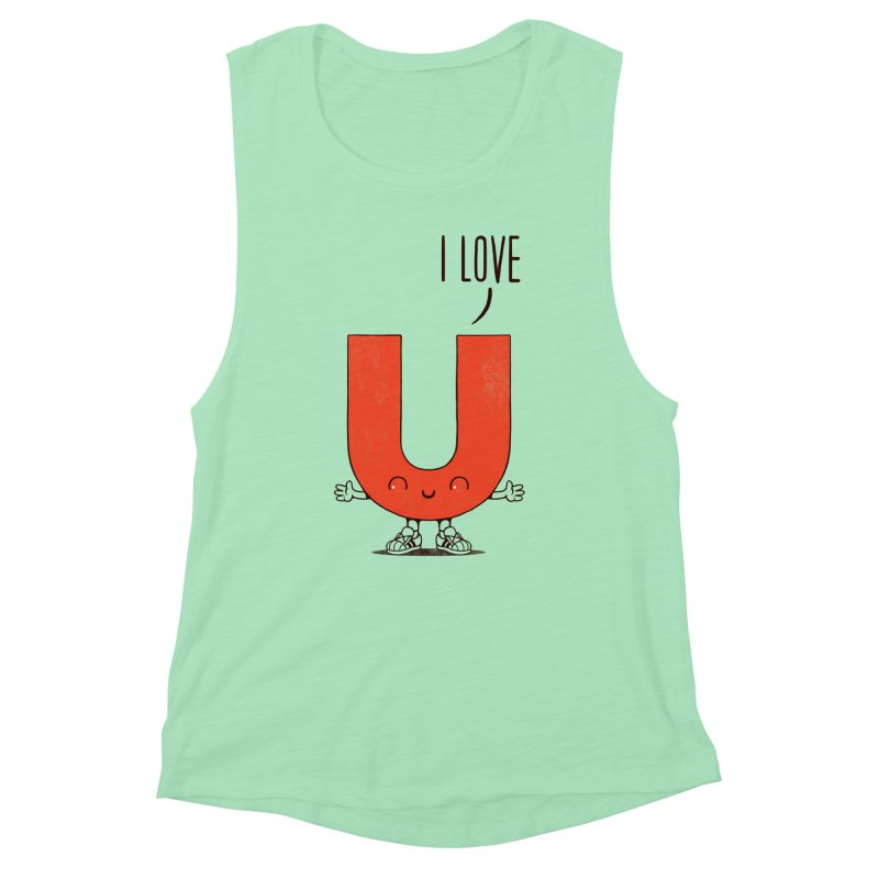 I LOVE U Women's Muscle Tank by netralica