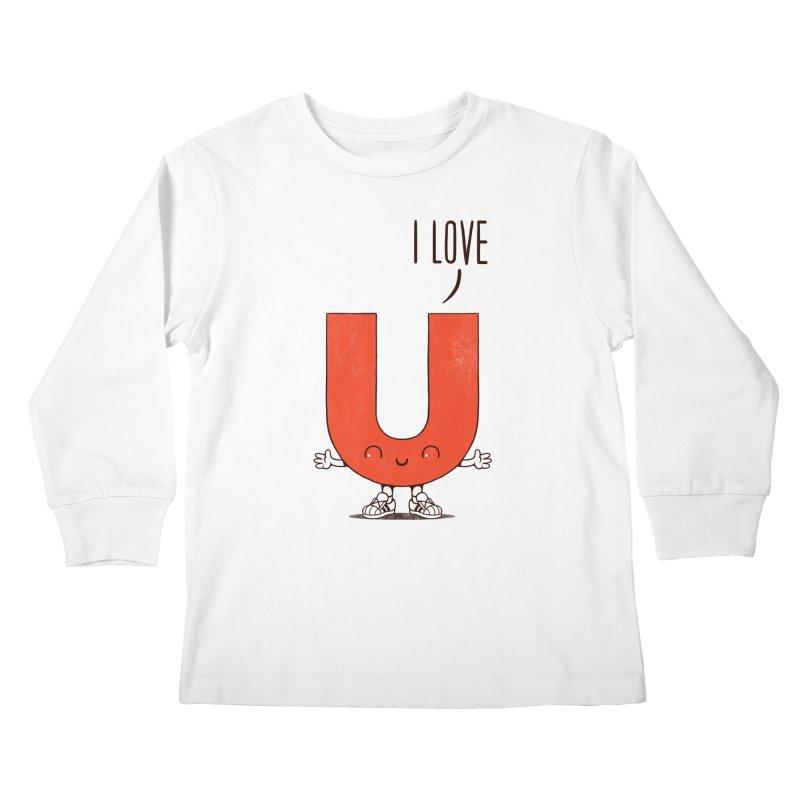 I LOVE U Kids Longsleeve T-Shirt by netralica