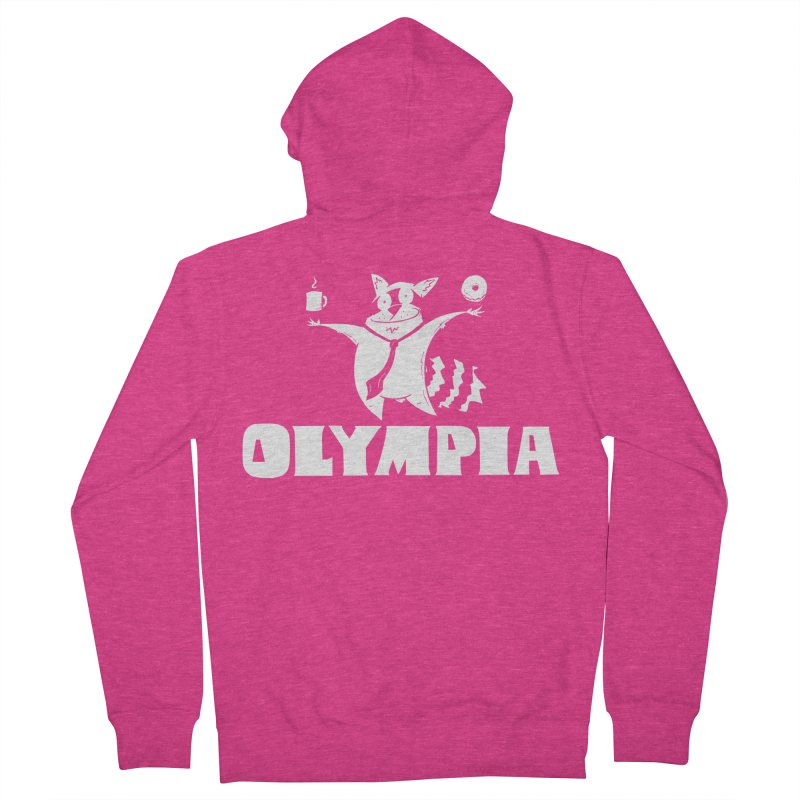 Olympia Raccoon Women's French Terry Zip-Up Hoody by P. Calavara's Artist Shop