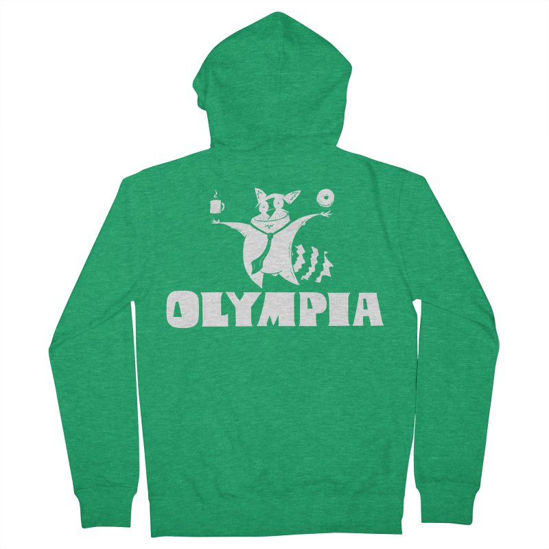 Olympia Raccoon Men's French Terry Zip-Up Hoody by P. Calavara's Artist Shop