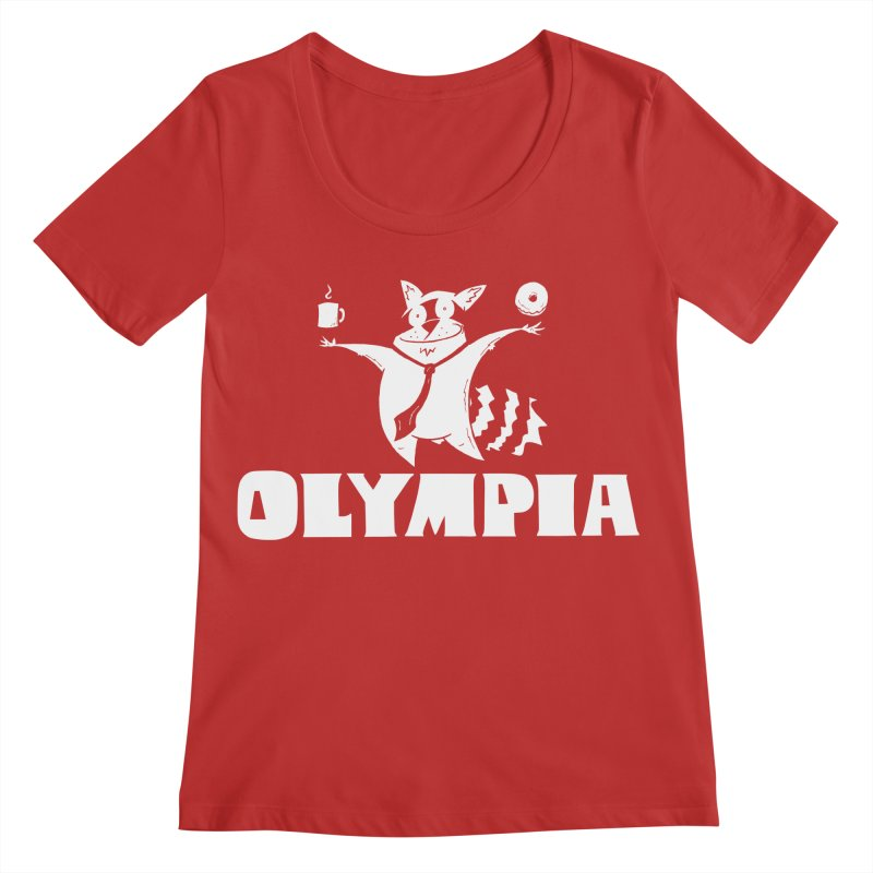 Olympia Raccoon Women's Regular Scoop Neck by P. Calavara's Artist Shop