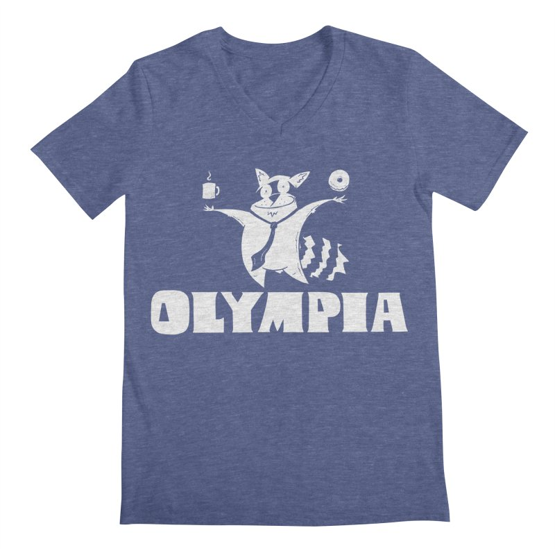 Olympia Raccoon Men's Regular V-Neck by P. Calavara's Artist Shop