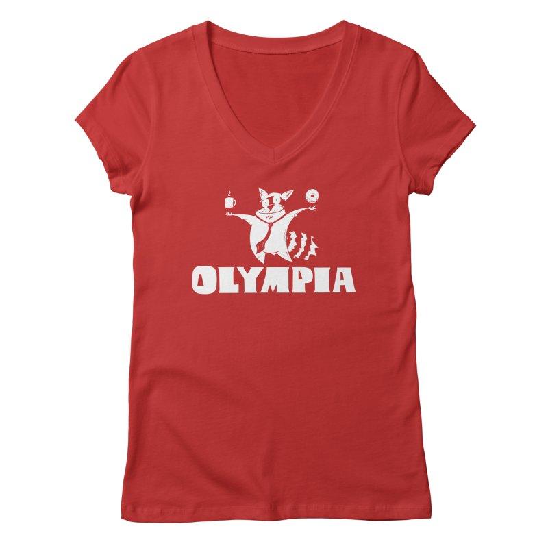 Olympia Raccoon Women's Regular V-Neck by P. Calavara's Artist Shop