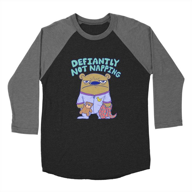 Defiantly Not Napping Men's Baseball Triblend Longsleeve T-Shirt by P. Calavara's Artist Shop