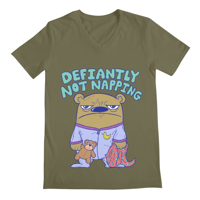 Defiantly Not Napping Men's Regular V-Neck by P. Calavara's Artist Shop