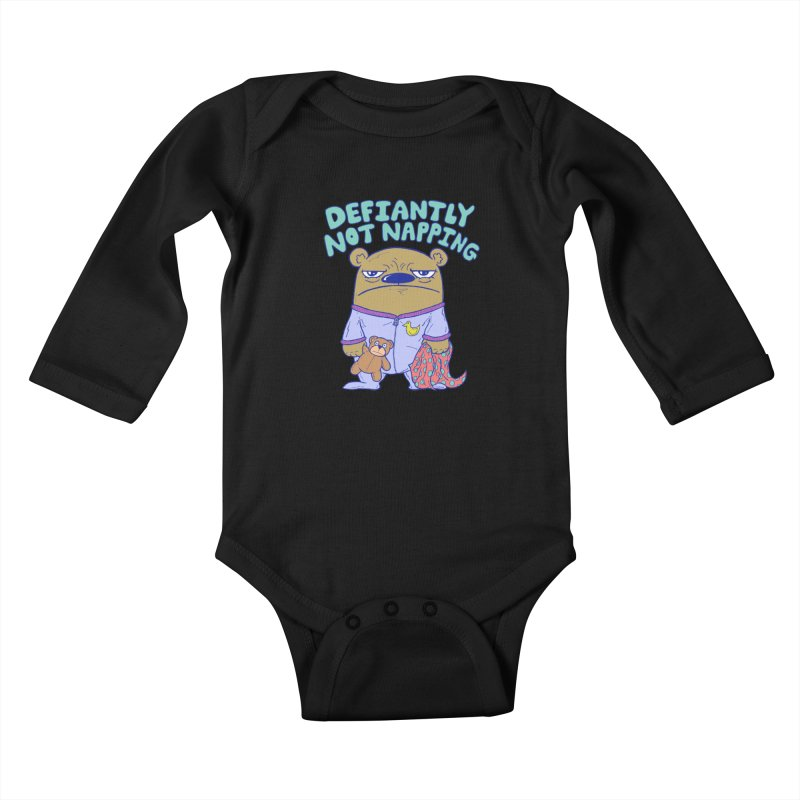 Defiantly Not Napping Kids Baby Longsleeve Bodysuit by P. Calavara's Artist Shop