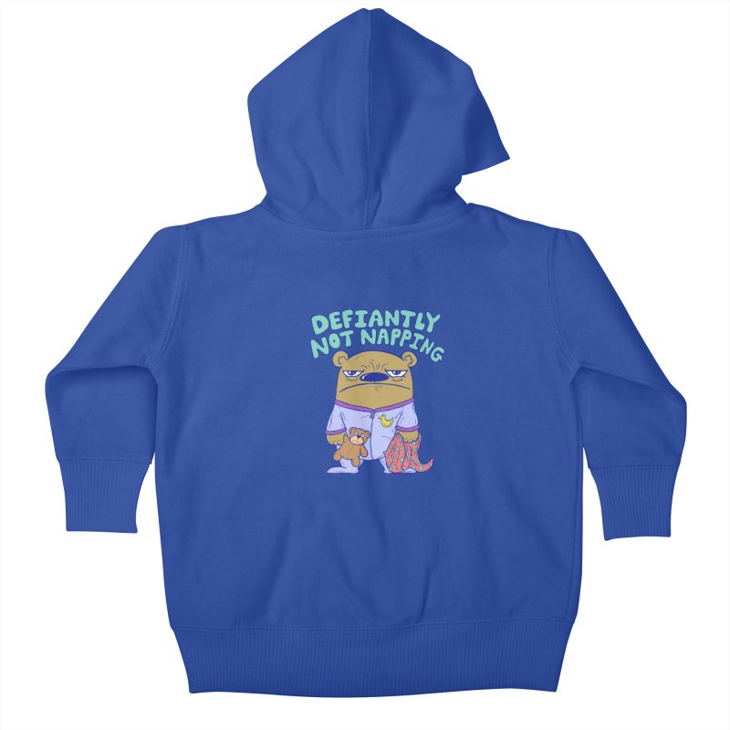 Defiantly Not Napping Kids Baby Zip-Up Hoody by P. Calavara's Artist Shop