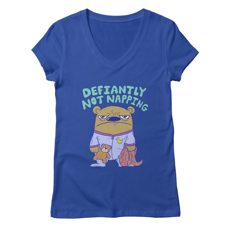 Defiantly Not Napping Women's Regular V-Neck by P. Calavara's Artist Shop