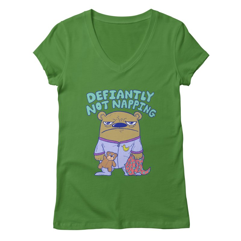 Defiantly Not Napping Women's V-Neck by P. Calavara's Artist Shop