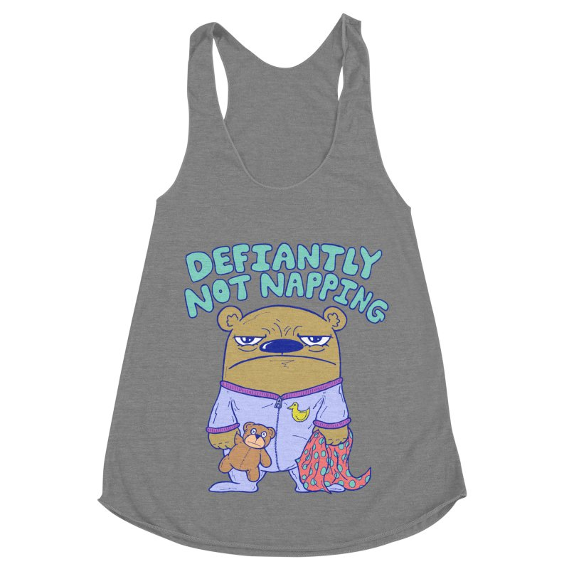 Defiantly Not Napping Women's Racerback Triblend Tank by P. Calavara's Artist Shop