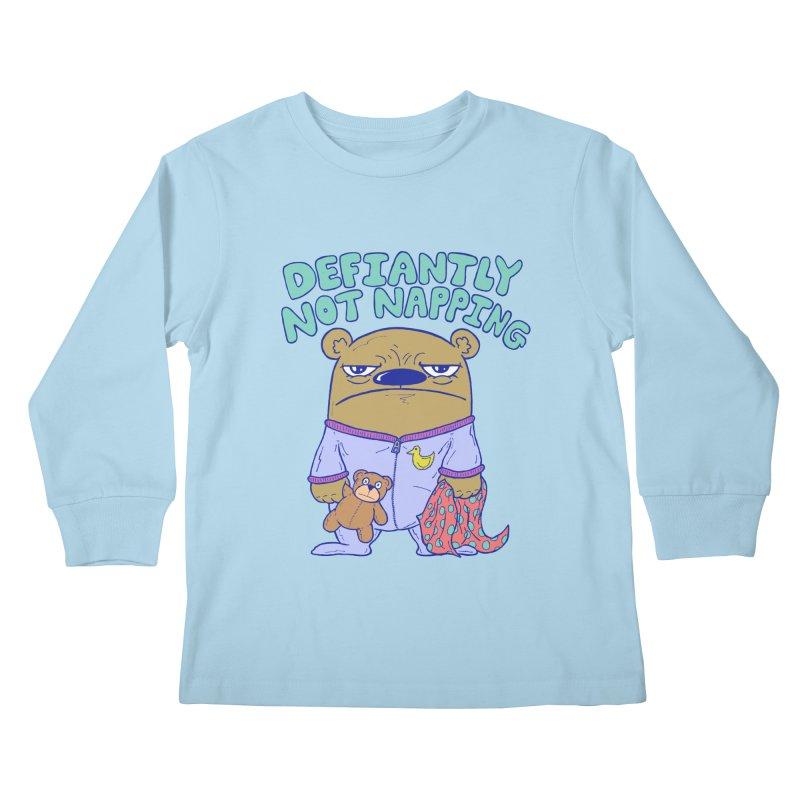 Defiantly Not Napping Kids Longsleeve T-Shirt by P. Calavara's Artist Shop