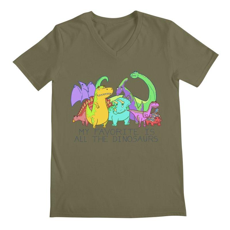 My Favorite Is All The Dinosaurs Men's Regular V-Neck by P. Calavara's Artist Shop