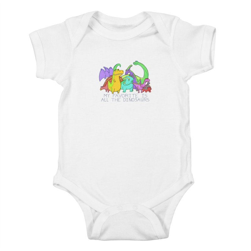 My Favorite Is All The Dinosaurs Kids Baby Bodysuit by P. Calavara's Artist Shop