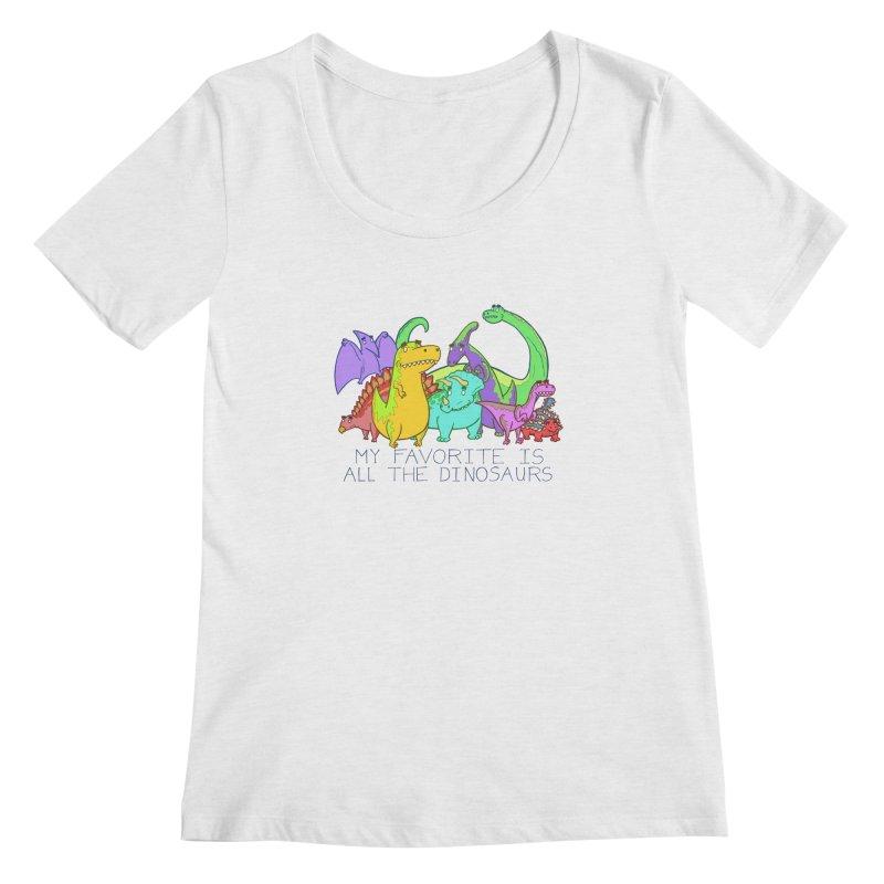 My Favorite Is All The Dinosaurs Women's Regular Scoop Neck by P. Calavara's Artist Shop
