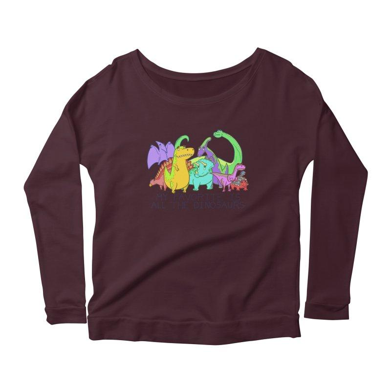 My Favorite Is All The Dinosaurs Women's Longsleeve Scoopneck  by P. Calavara's Artist Shop