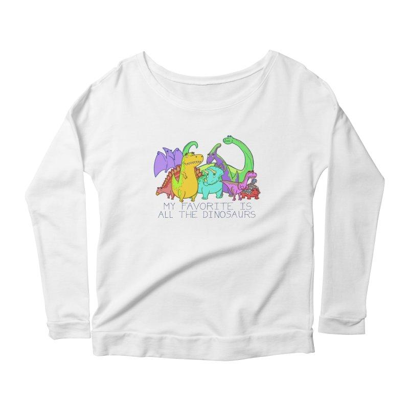 My Favorite Is All The Dinosaurs Women's Scoop Neck Longsleeve T-Shirt by P. Calavara's Artist Shop