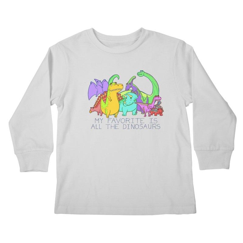My Favorite Is All The Dinosaurs Kids Longsleeve T-Shirt by P. Calavara's Artist Shop