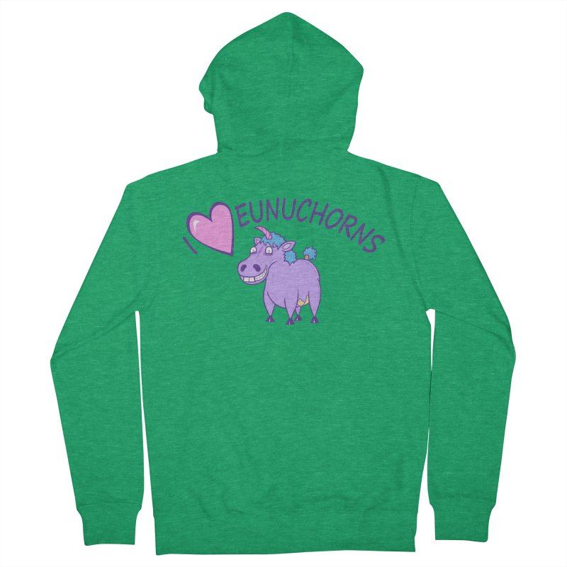 I (Heart) Eunuchorns Men's Zip-Up Hoody by P. Calavara's Artist Shop
