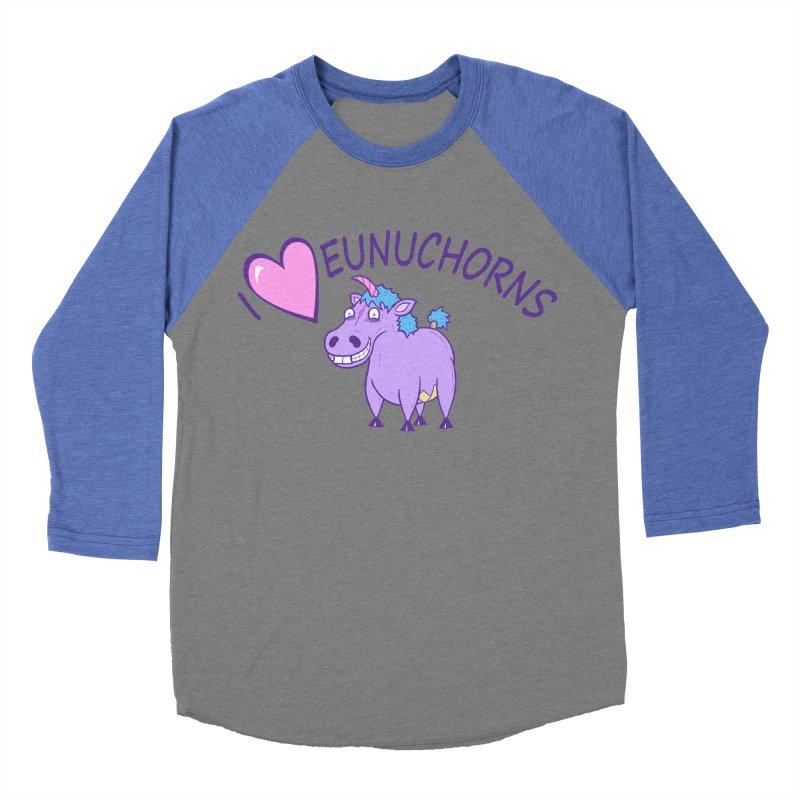 I (Heart) Eunuchorns Men's Baseball Triblend Longsleeve T-Shirt by P. Calavara's Artist Shop