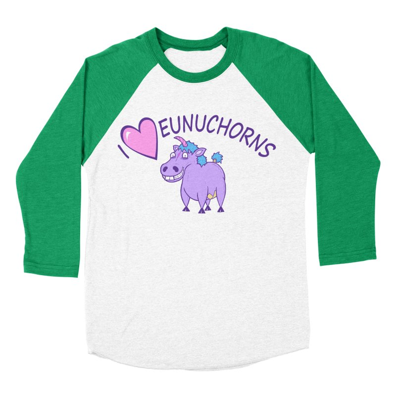 I (Heart) Eunuchorns Men's Baseball Triblend Longsleeve T-Shirt by P. Calavara's Artist Shop