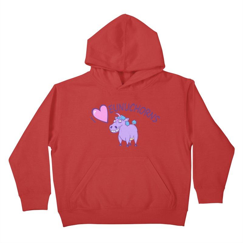 I (Heart) Eunuchorns Kids Pullover Hoody by P. Calavara's Artist Shop