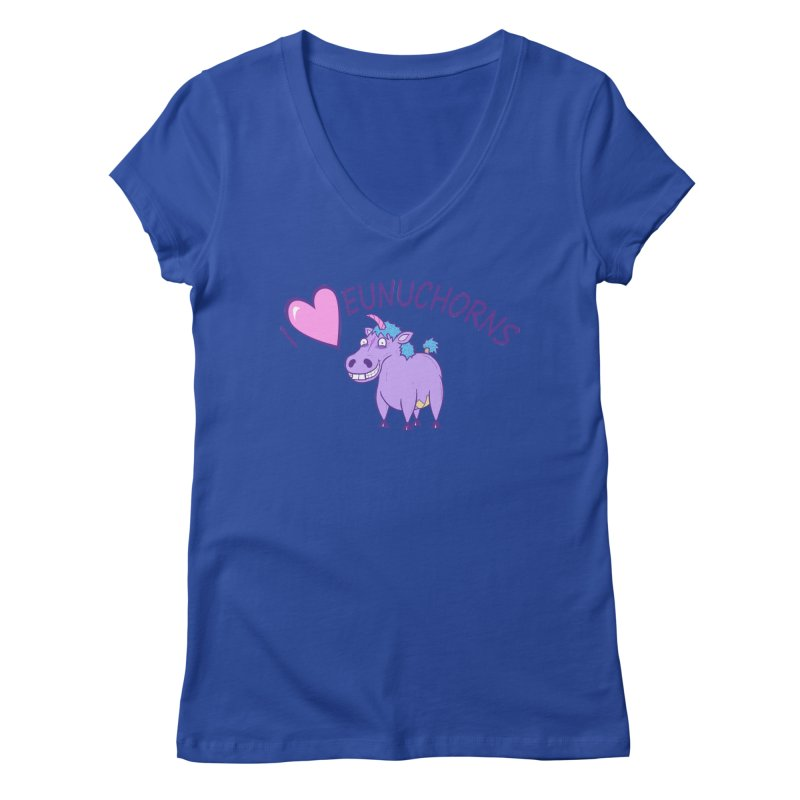 I (Heart) Eunuchorns Women's Regular V-Neck by P. Calavara's Artist Shop