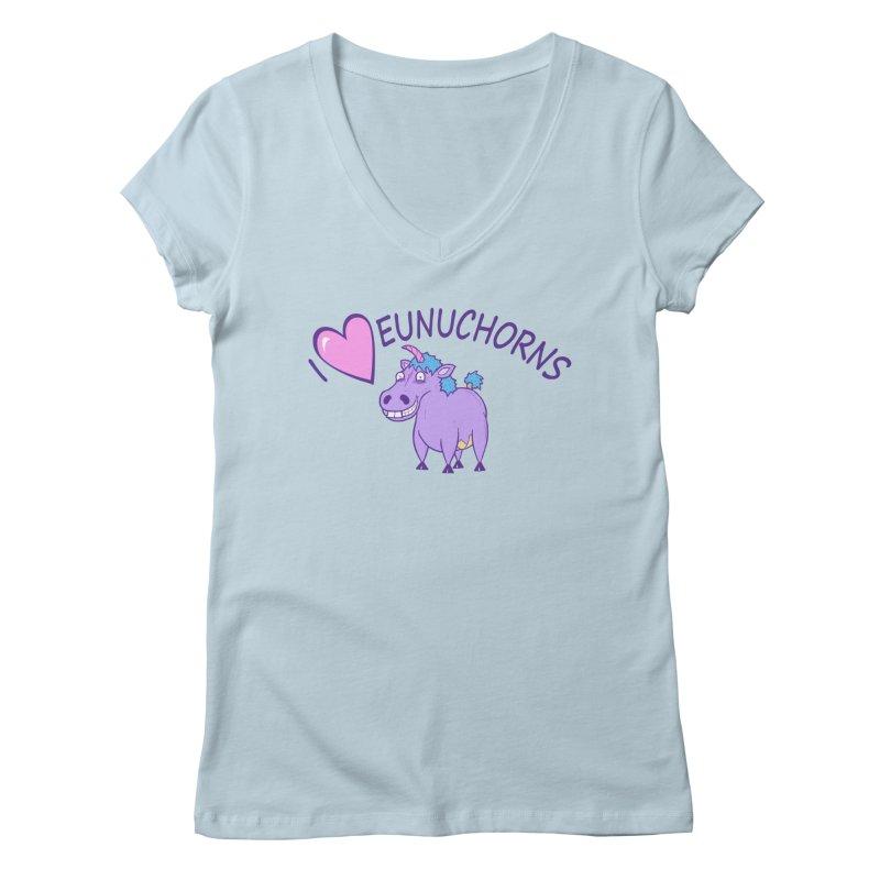 I (Heart) Eunuchorns Women's Regular V-Neck by P. Calavara's Artist Shop