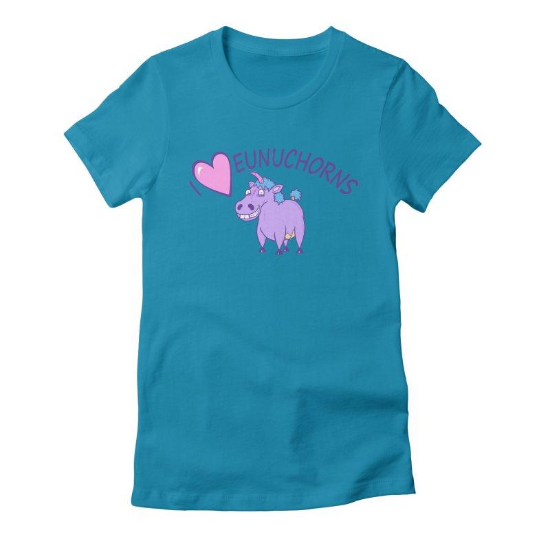 I (Heart) Eunuchorns Women's Fitted T-Shirt by P. Calavara's Artist Shop