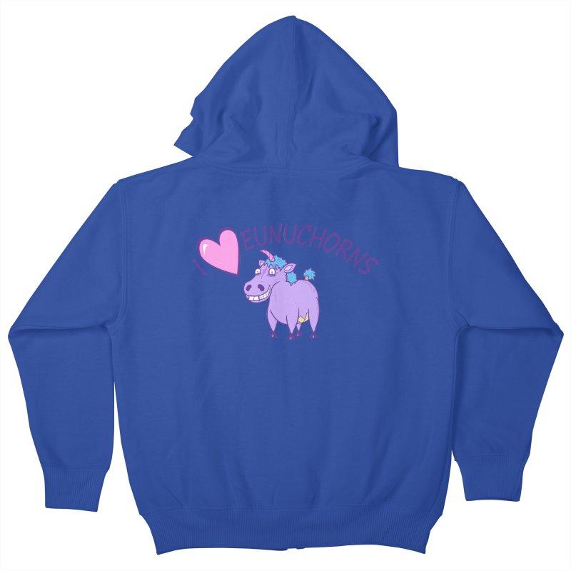 I (Heart) Eunuchorns Kids Zip-Up Hoody by P. Calavara's Artist Shop