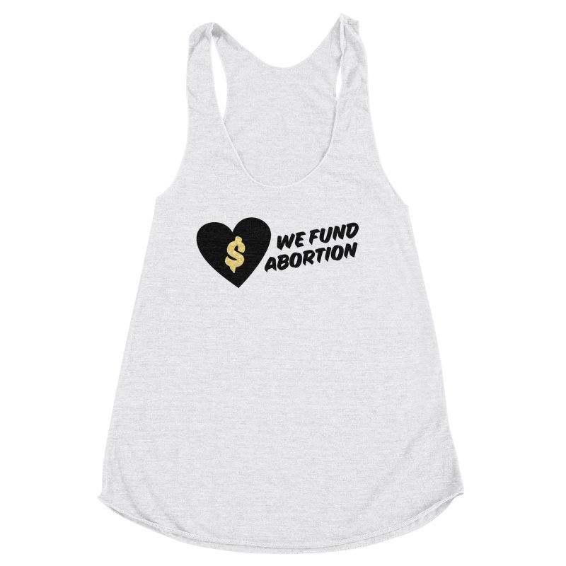 We Fund Abortion, black & gold Fitted Tank by New River Abortion Access Fund Shop