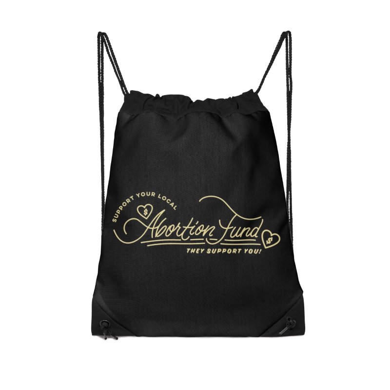 Support Your Local Abortion Fund, gold Accessories Bag by New River Abortion Access Fund Shop