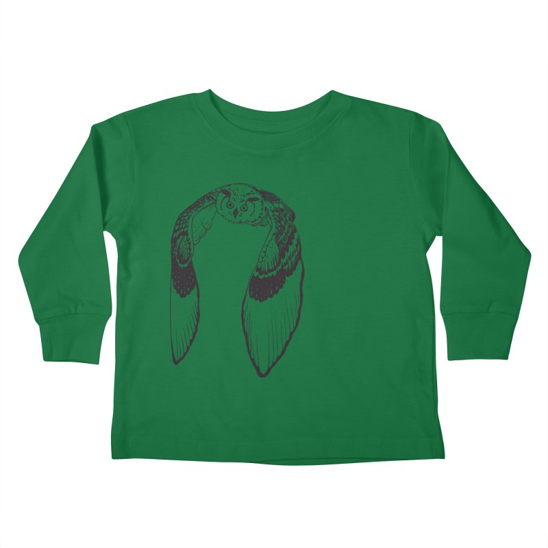 Flying Owl Kids Toddler Longsleeve T-Shirt by nhanusek's Artist Shop