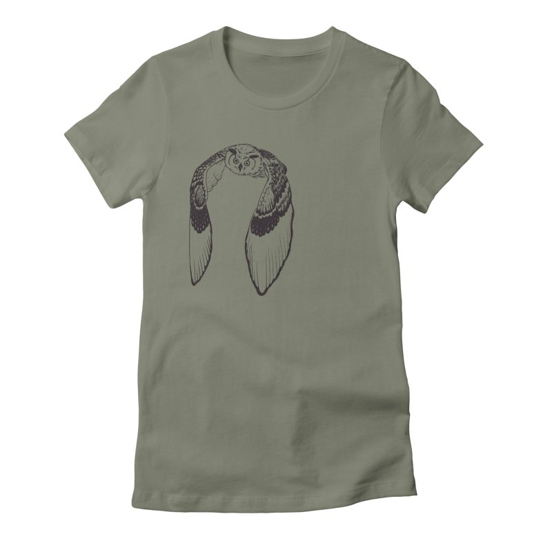 Flying Owl Women's Fitted T-Shirt by nhanusek's Artist Shop