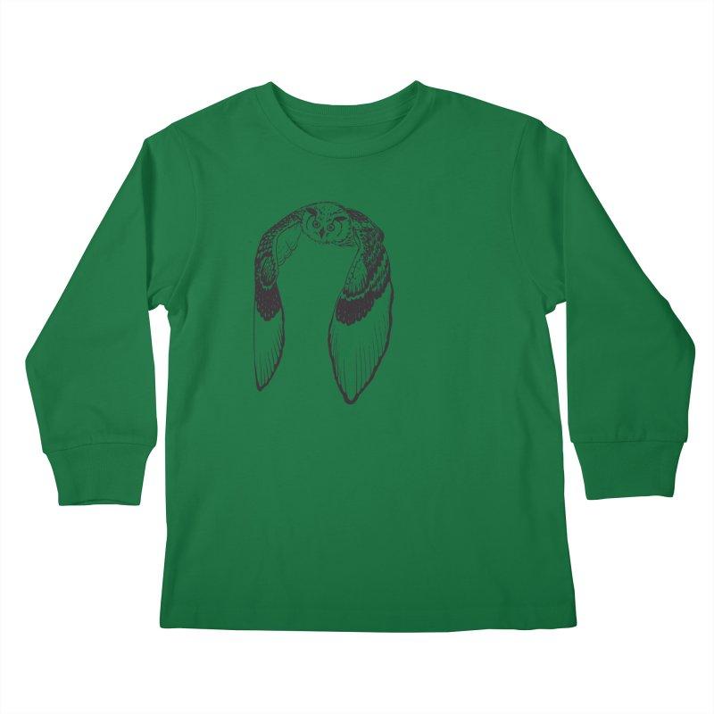 Flying Owl Kids Longsleeve T-Shirt by nhanusek's Artist Shop