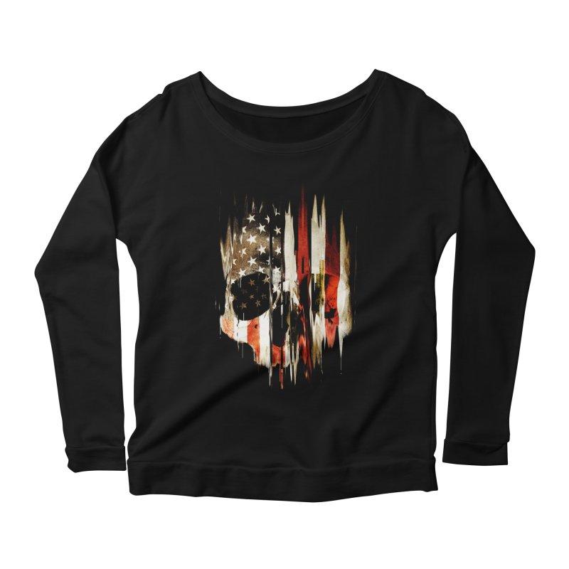 American Skull Women's Scoop Neck Longsleeve T-Shirt by nicebleed