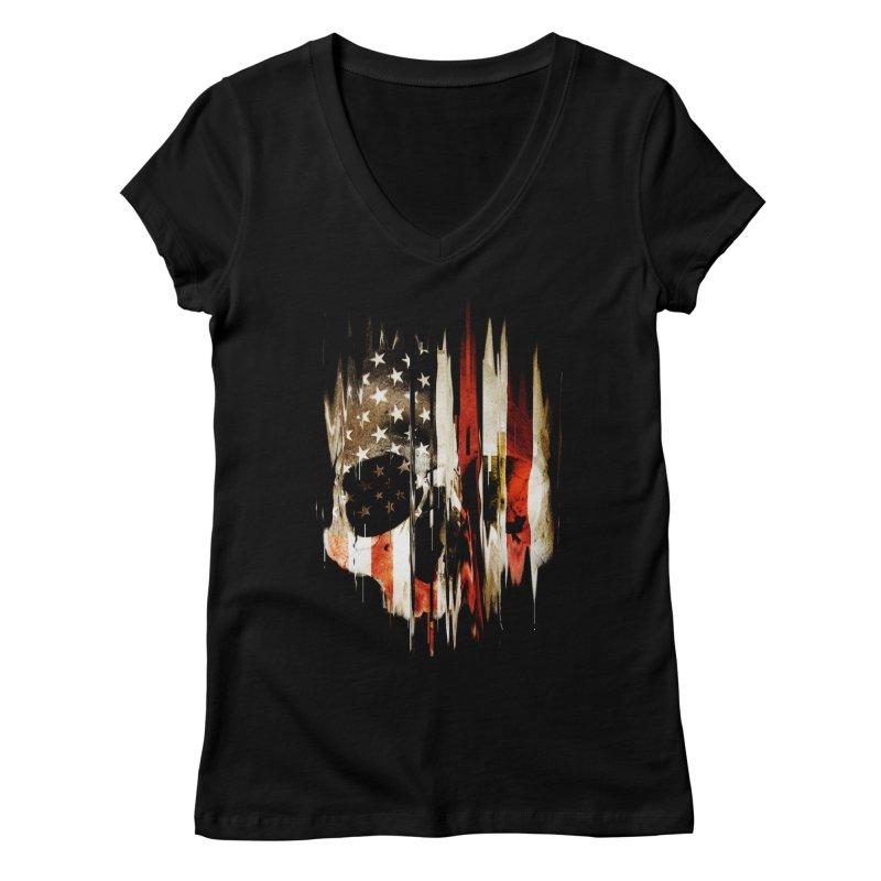 American Skull Women's Regular V-Neck by nicebleed