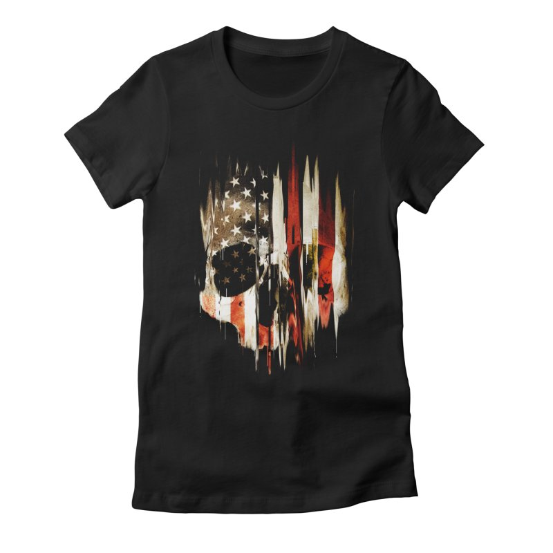 American Skull Women's Fitted T-Shirt by nicebleed