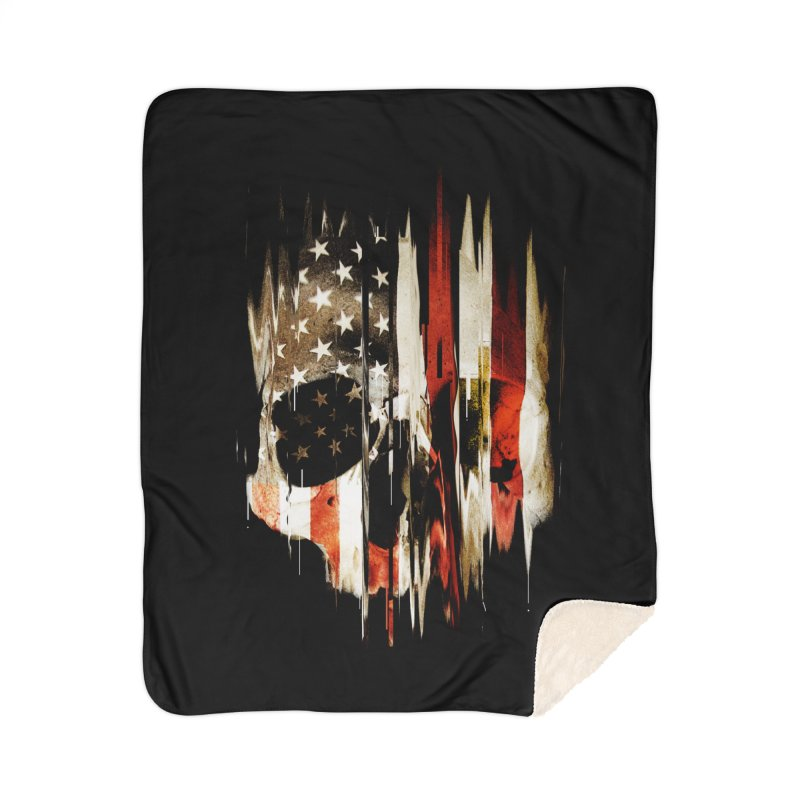 American Skull Home Sherpa Blanket Blanket by nicebleed