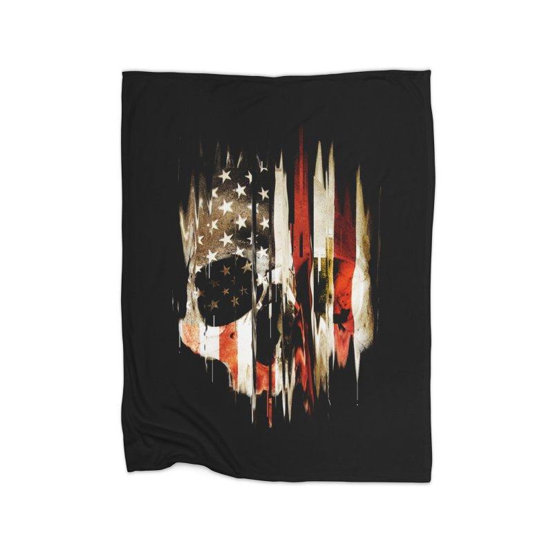 American Skull Home Fleece Blanket Blanket by nicebleed