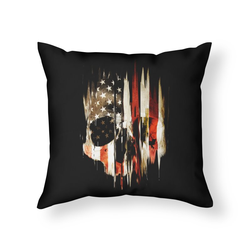 American Skull Home Throw Pillow by nicebleed