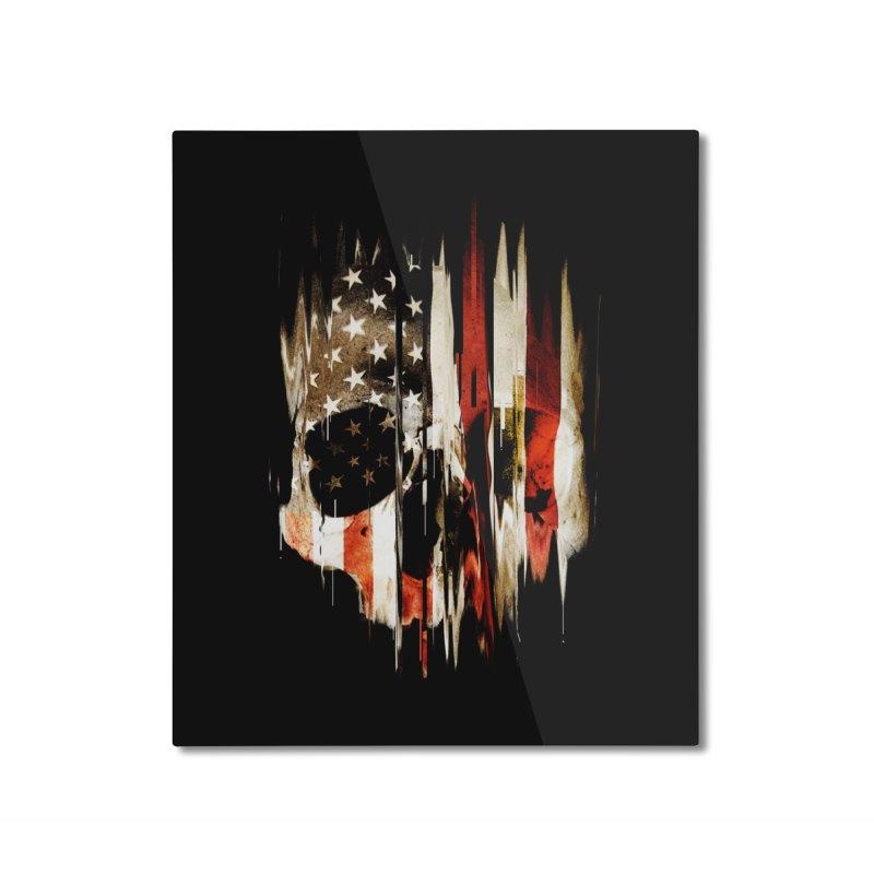 American Skull Home Mounted Aluminum Print by nicebleed