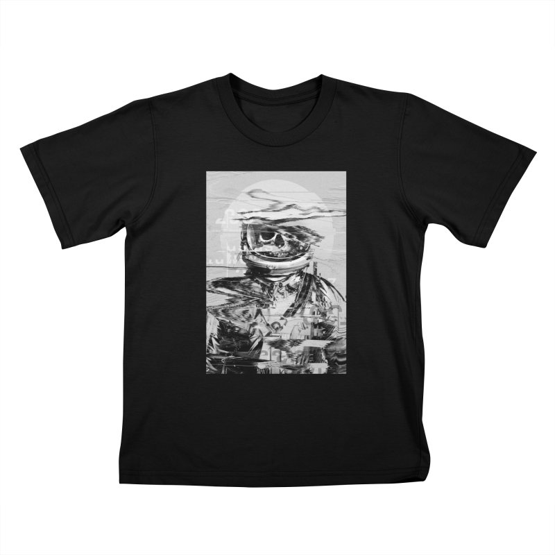 Astro Skull Kids T-Shirt by nicebleed