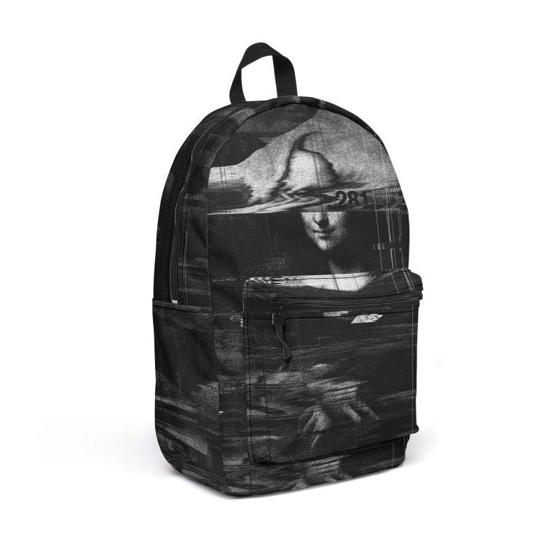 Mona Lisa Glitch Accessories Backpack Bag by nicebleed
