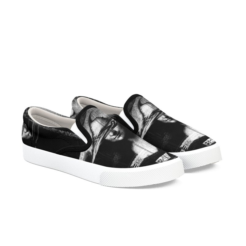 Mona Lisa Glitch Women's Slip-On Shoes by nicebleed