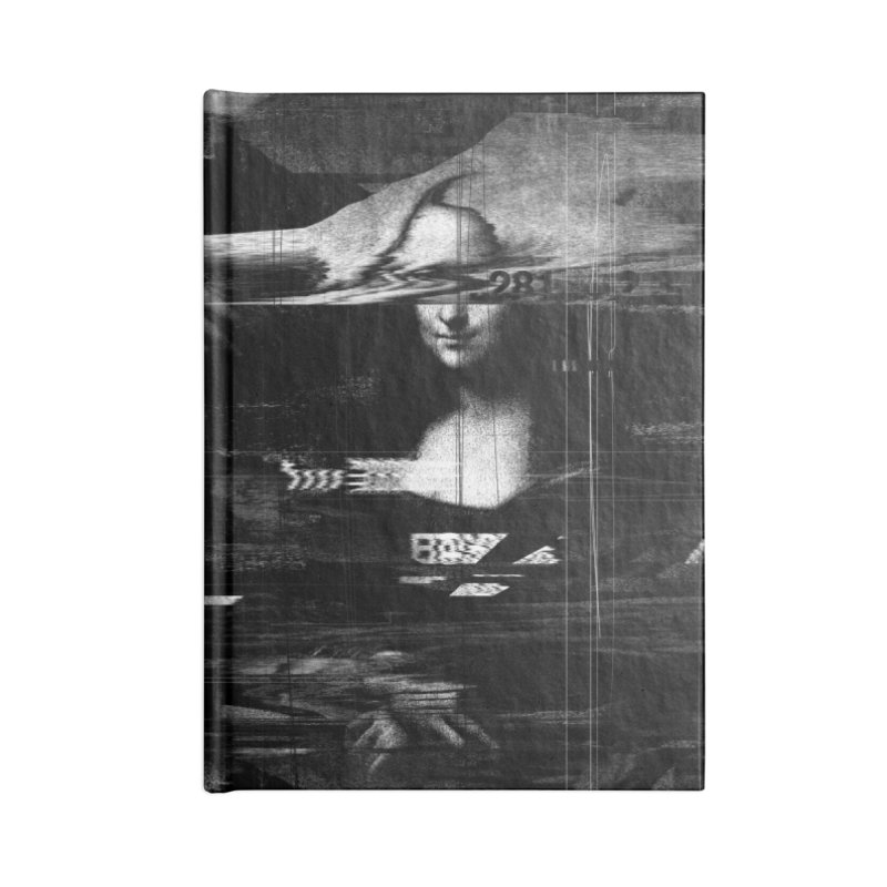 Mona Lisa Glitch Accessories Blank Journal Notebook by nicebleed