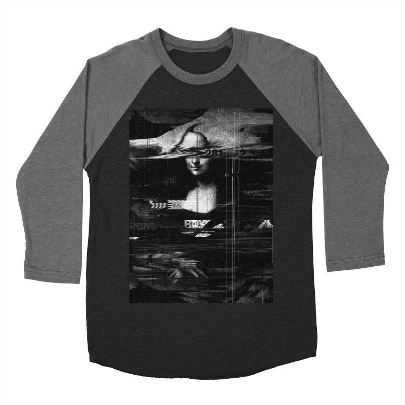 Mona Lisa Glitch Men's Baseball Triblend Longsleeve T-Shirt by nicebleed