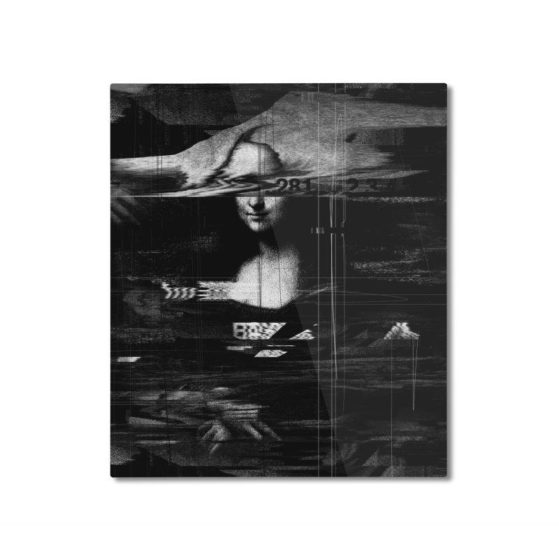 Mona Lisa Glitch Home Mounted Aluminum Print by nicebleed