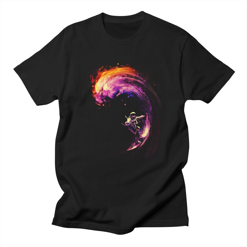 Space Surfing in Men's T-Shirt Black by nicebleed